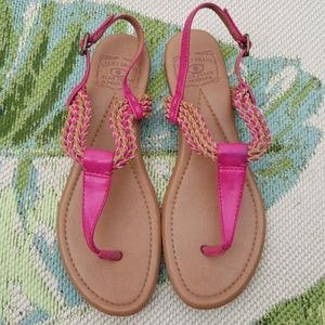 Lucky Brand Pink Braided Faux Leather Sandals 9 M